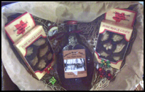 Heart-shaped gift basket containing Maine maple syrup and other maple products