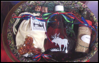 Oval-shaped gift basket containing Maine maple syrup and other maple products