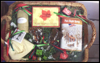 Rectangular gift basket containing Maine maple syrup and other maple products