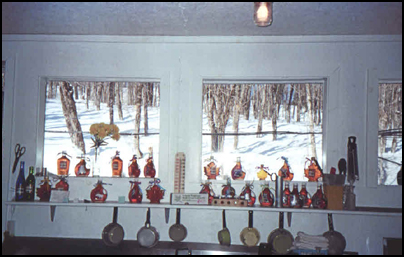The bottles are beautiful in the windows at the Sugar Shack.