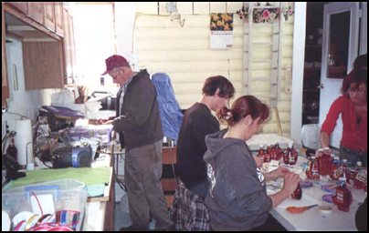 Bottling syrup is an assembly-line operation.
